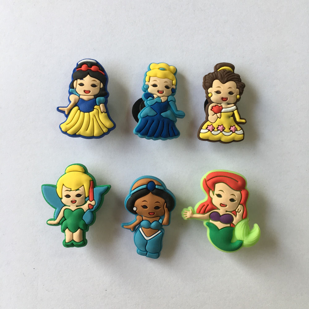 6pcs/lot Baby Princess PVC Shoe Charms Shoe Buckle Accessories For Croc Decoration For Bracelets With Holes Kids Christmas Gift