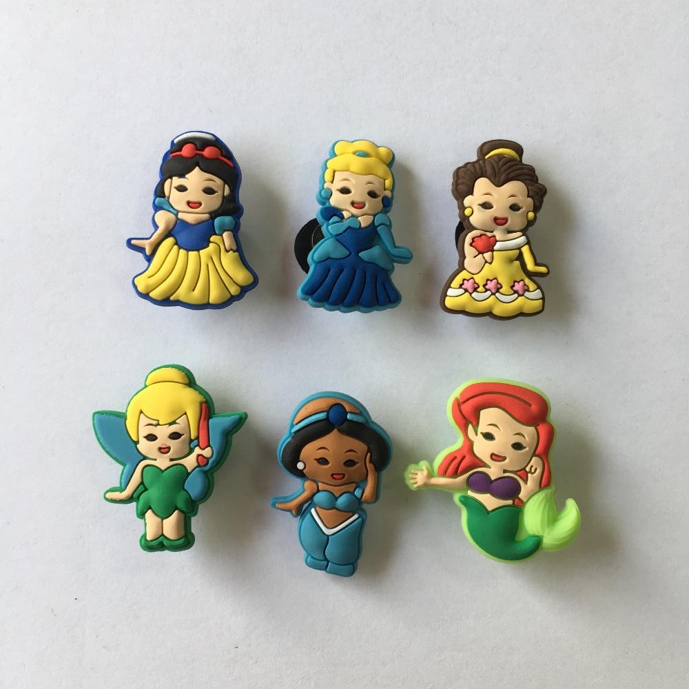 6pcs/lot Baby Princess PVC Shoe Charms Shoe Buckle Accessories For Croc Decoration For Bracelets With Holes Kids Christmas Gift