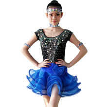 Latin Dance Skirt For Girls 2017 New Children Latin Competition Dancing Costume High Quality Rumba Samba Latin Dress недорого