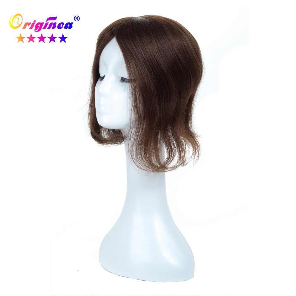 Originea парик из натуральных волос Чистая База Размер 13*17 см длина волос 12 дюймов 30 см remy волосы Toupee замена системы коричневый цвет