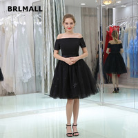 2018 New Simple Homecoming Dresses Custom Made Knee Length A Line Tulle Lace Black Short Sleeve