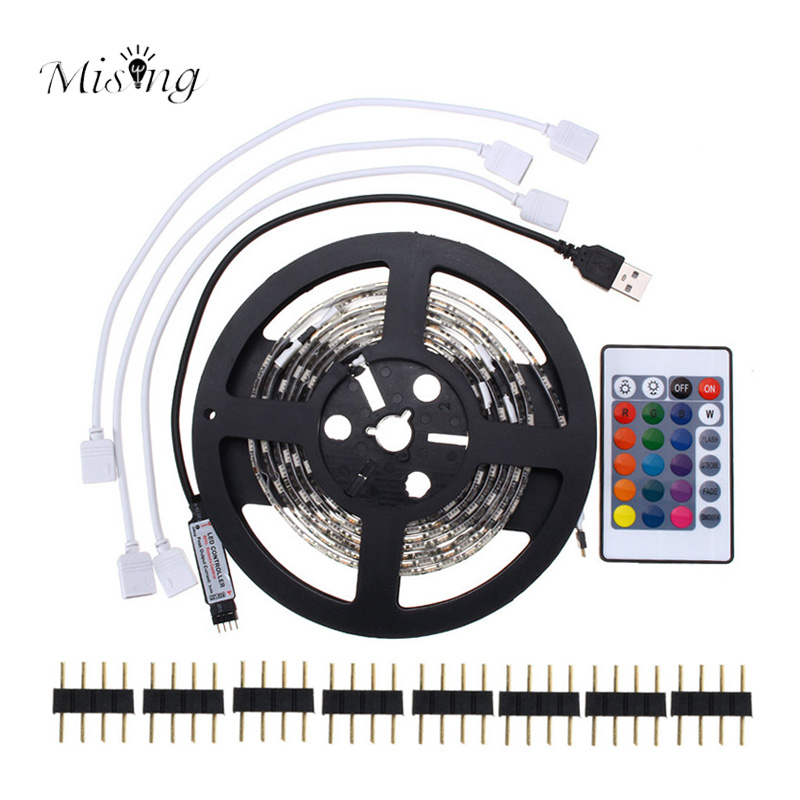 Mising 4PCS 50cm SMD5050 IP20 USB RGB LED Strip With Remote Controller USB Power Cable 5V 60LEDs/m For Bar TV Backlight