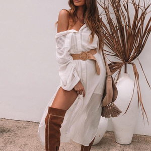 Image 5 - Peachtan White beach cover up dress Tunic long pareos bikinis Cover ups swimsuit Cover up Beachwear T shirts for women 2019 new
