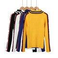 Mujeres Suéter Unif Cartas de Punto de Cuello Alto Suéteres de Las Mujeres 2016 Otoño Invierno Harajuku Dollskill Suéter Color Block