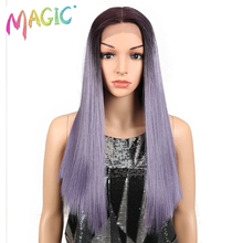 "Magic Hair 20""Inch Synthetic Straight Hair Lace Front Wig Natural Hairline Heat Resistant Fiber Hair Middle Part For Black Women"