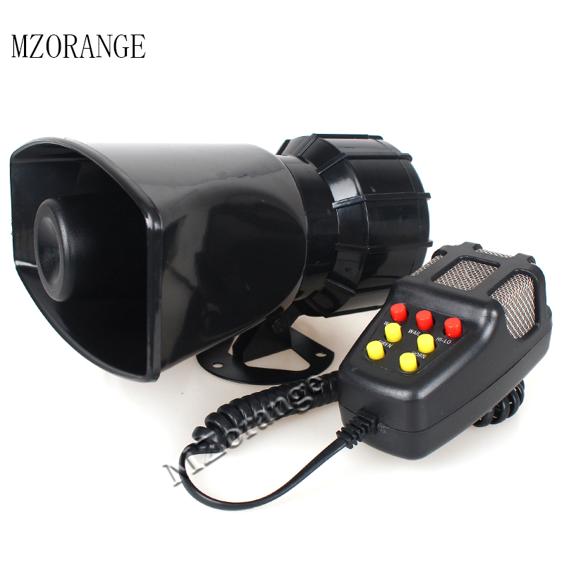 MZORANGE 7 Tone Speaker Horn 12V 100W Police Siren Horn Loud Speaker Universal Motorcycle Car Alarm Firemen Ambulance Megaphone in Multi tone Claxon Horns from Automobiles Motorcycles