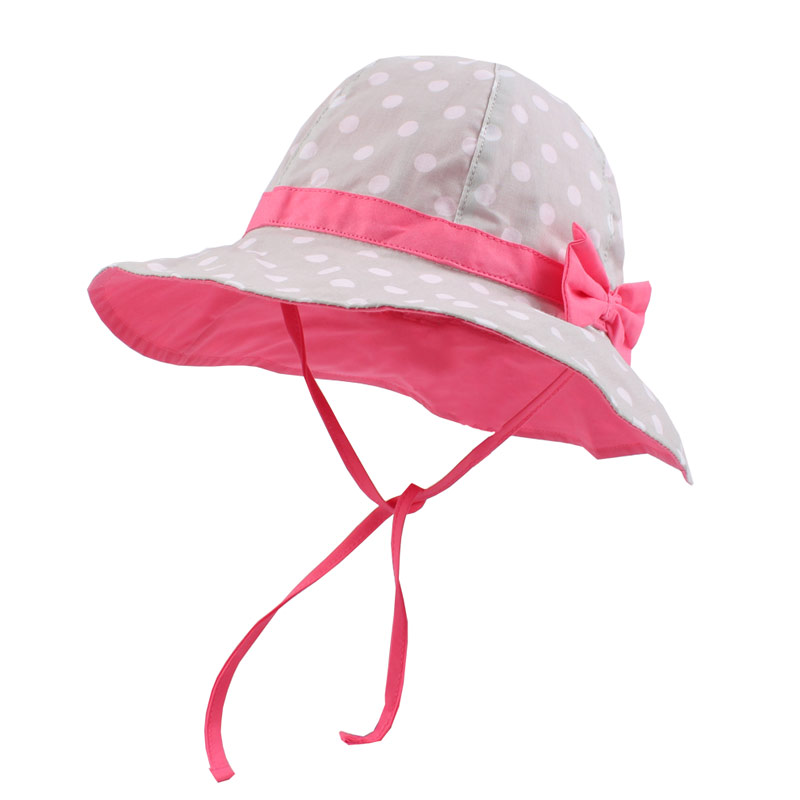 Dots Bowknot Baby Girls Bucket Sun Hat Toddler Kids Wide Brim Summer UV Protection Cap High Quality Cotton Lining Chinstrap Stay On (2)