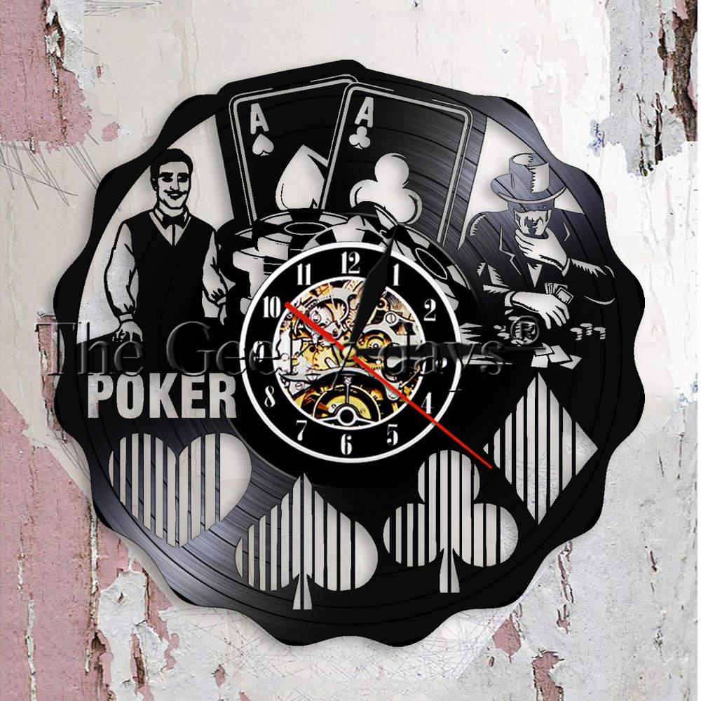 US $16 91 11% OFF|Ace Of Spades Playing Card Gambling Wall Art Wall Clock  Game Room Gambling Den Decoration Vinyl Record Wall Clock Poker Gift-in  Wall