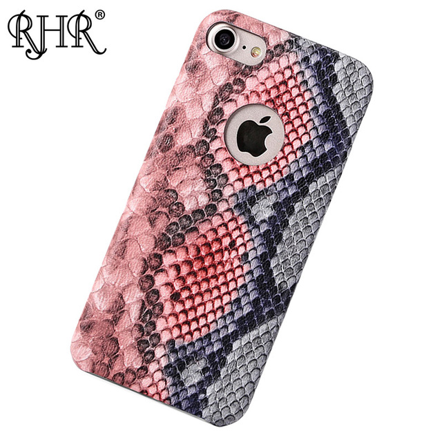 RHR Leather Phone Case For iPhone 6 6s 7 Case fashion snake Skin Shell Shockproof Thin Phone Cases For iPhone 6 6s X Case Luxury