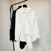 Pearl Buttons Shirt Women Irregular Frilled Shirt Female Ladies Spring Autumn Loose Outfit White / Balck Blouse Office Shirts