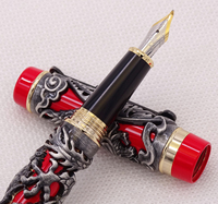 Jinhao Dragon Phoenix Vintage Luxury Gray Red Calligraphy Pen Fountain Pen Iraurita Bent Nib Full Metal Carving for Art Office
