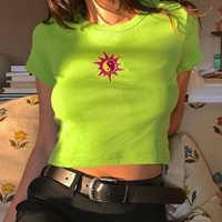 Weekeep broderie recadrée t-shirt femmes coton col rond manches courtes t-shirt 2019 été t-shirt Femme Streetwear haut court