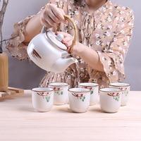Japanese Cherry Blossom Teapots Set 1 Pot 6 Cups Ceramic Drinkware Tea Pot Home Office Tea Set Kettle Best Gifts
