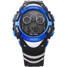 OHSEN Digital LCD Display LED Flash Backlight Date Day Display Alarm Rubber Band Men's Blue Sport Wrist Timepiece Watch / OHS048