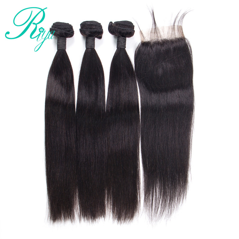 3 Bundles Straight Hair With 4x4 Lace Closure Brazilian Remy Human Hair Extension With Closure Middle part Closure Riya Hair