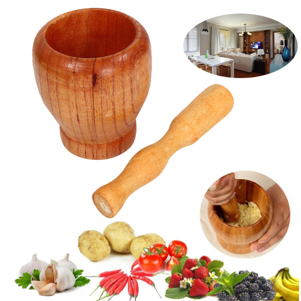 Wooden pound garlic mixers wood mortar wooden household wholesale