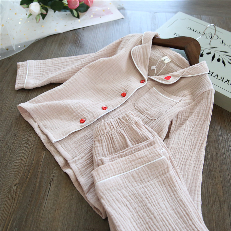 Linen kids pajamas sets Love Embroidery Kids Sleepwear sets Children Home wear Boys Girls long-sleeved Nightwear baby Clothes