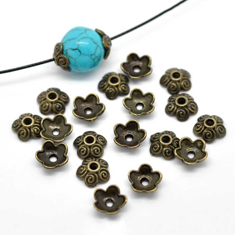 LASPERAL 100PCs Flower Bead Caps Antique Bronze Color Fit Beaded Bracelets Findings 10x4mm Jewelry Making Accessories