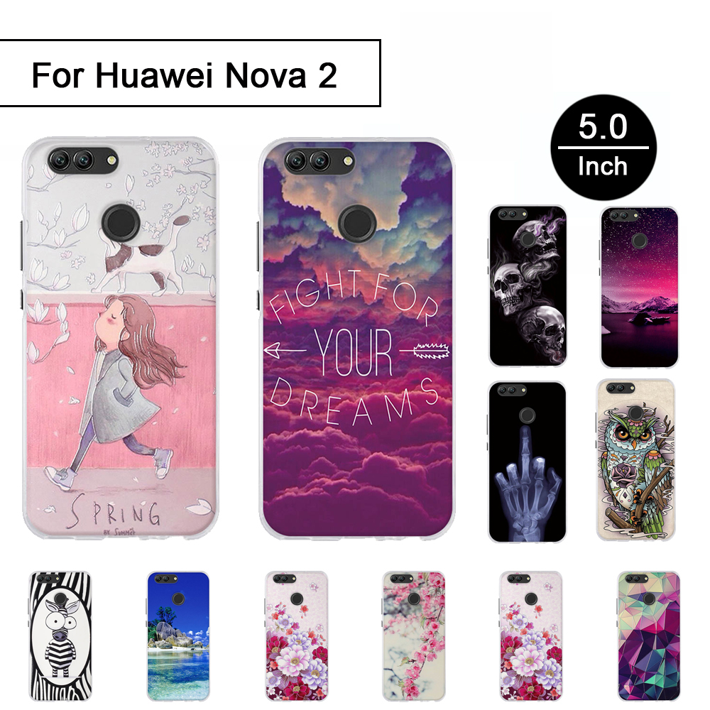 3D Stereo Painted Case For Huawei NOVA 2 PIC-AL00 Relief Pattern Cover Back Phone Cases For Huawei Nova 2 Cartton Shell Soft TPU