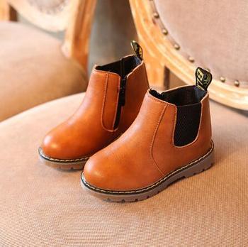 Gorąca sprzedaż obuwie dziecięce buty dziewczęce jesienne zimowe nowe modne chłopięce buty dla dżentelmena dziecięce miękkie buty outdoorowe chłopięce rozmiar butów 21-30 tanie i dobre opinie KKABBYII RUBBER 2-3Y 4-6y 7-9Y 19-24 M 13-18 M wszystkie pory roku Modne botki Platforma Płaskie z PŁÓTNO Unisex ANKLE