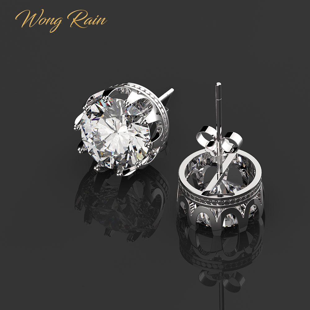 Wong Rain Classic 100% 925 Sterling Silver Round Created Moissanite Gemstone Ear StudscEarrings Wedding Fine Jewelry Wholesale