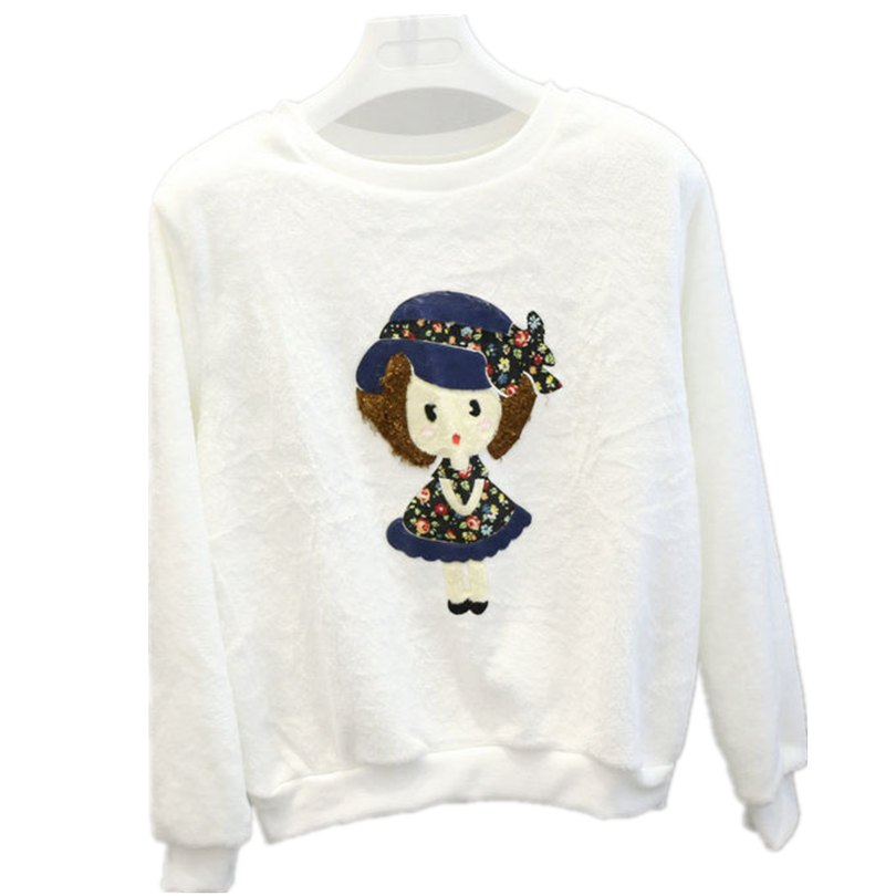 nové topy flanel teplý tlustý s kapucí bílý svetr Mikiny dámské dlouhé rukávy s ležérním potiskem dámského oblečení