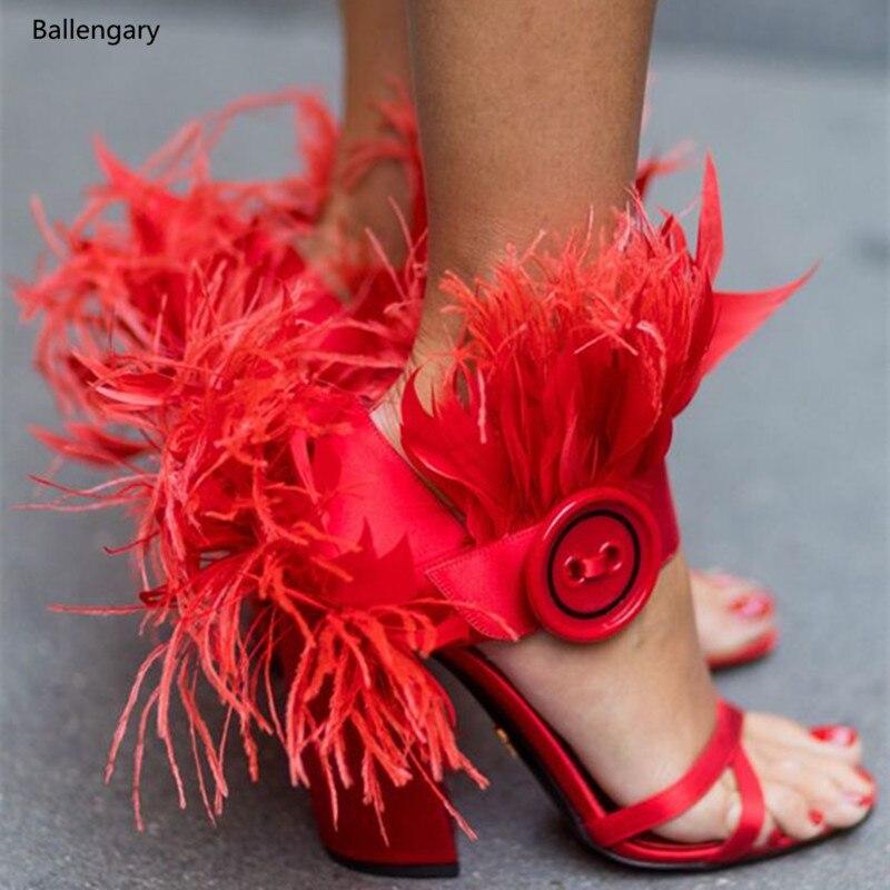 Sandalias Sandales Talons 2018 Pistes Pic Rouge Pic Cheville Haute Rose Wrap Noir Chaussures Plume Bloc As as Mode Femmes De Mujer SSq1Yxr