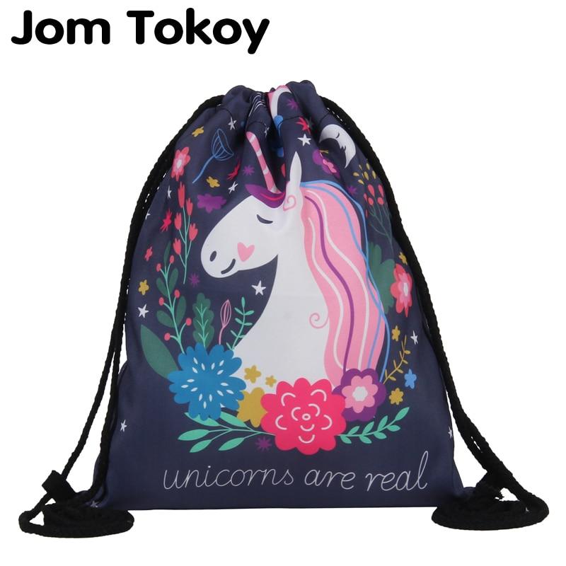 Jom Tokoy Bag Drawstring Ffasiwn Argraffu 3D Unicorn Mochila Feminina - Pecynnau cefn