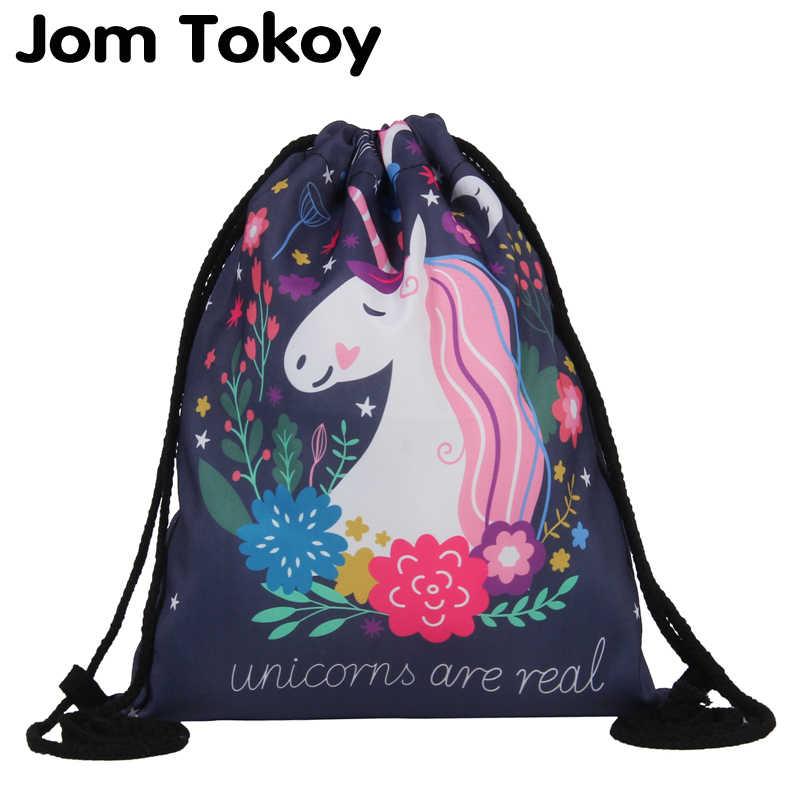 Jom Tokoy Fashion Drawstring Bag 3D Printing Unicorn Mochila Feminina Drawstring  Backpack Women daily Casual Girl's