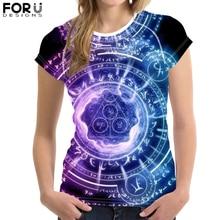 FORUDESIGNS Gothic Magic Array T-Shirt for Women Summer Short Sleeve Tee Tops Female Fashion Elasticity Black Tshirt футболка