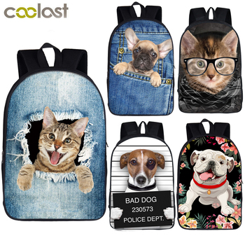 Cute Puppy Dog / Kitten Cat Backpack Women Men Causal Rucksack Student School Bags For Teenager Girls Boys Daypack Kids Bagpack 1