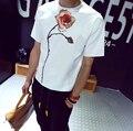 2017 Flor de Algodão de Moda T Shirt Dos Homens de Manga Curta Slim Fit T-shirt Dos Homens Casuais designer de Verão 3d T Camisa da marca M-XXL Livre