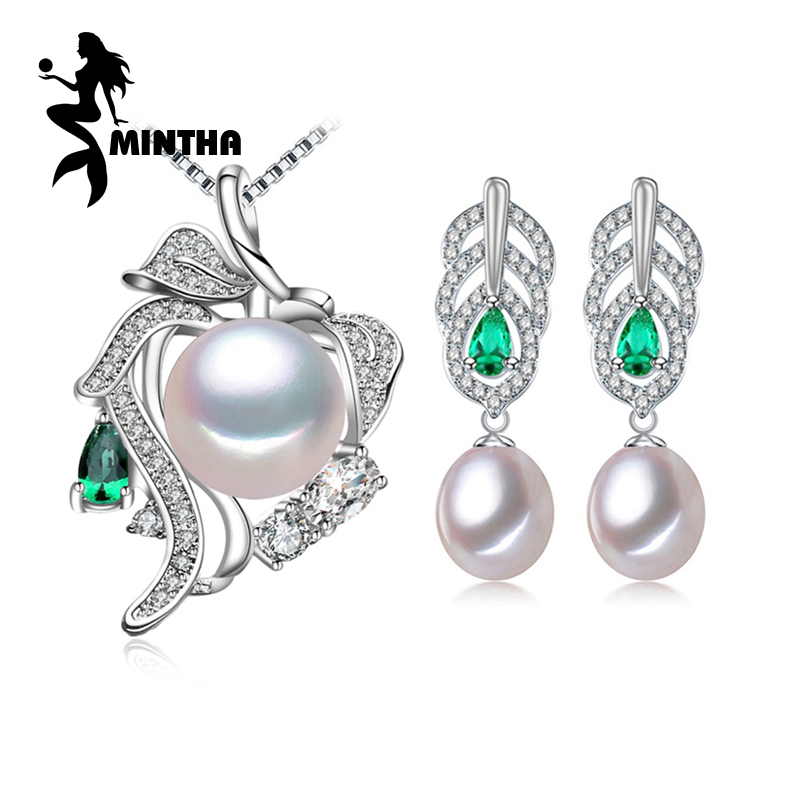 MINTHA Pearl Jewelry Sets,Pearl Pendant Necklace Earrings For Women,Ethnic 925 sterling silver Emerald leaf big earrings set a suit of delicate pearl rhinestone leaf necklace and earrings for women