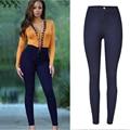 High Waist Women Skinny Pencil Jeans Denim Elastic Pants Candy Color Trousers Black Blue Plus Size Female Slim Jeans P45
