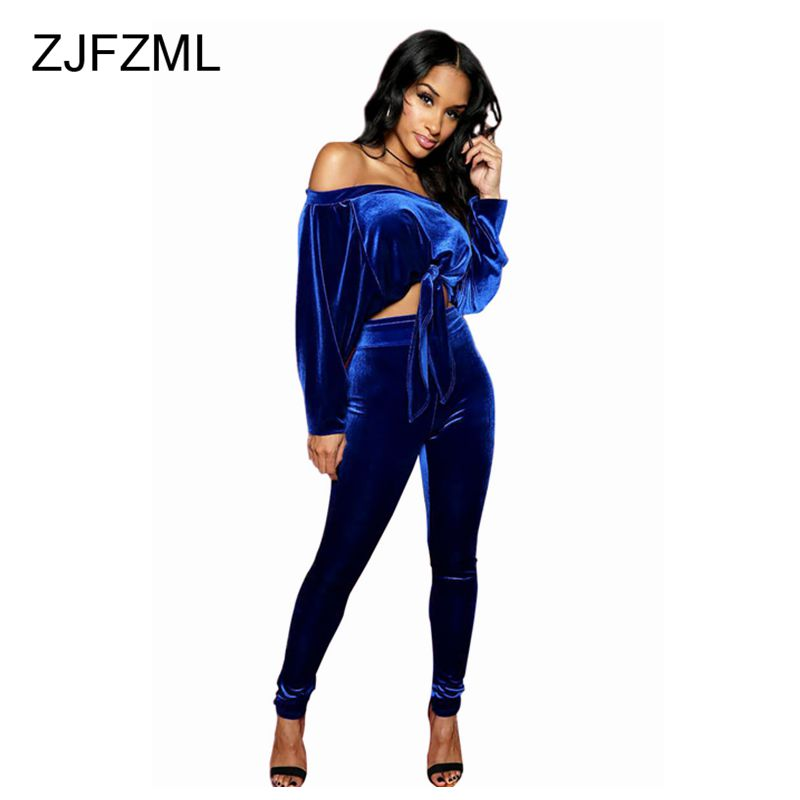 bedbbb793d7 ZJFZML Royal Blue Off Shoulder Velvet 2 Piece Set Jumpsuit Full Sleeve Lace  Up Short Top and Empire Long Bodycon Rompers -in Jumpsuits from Women s  Clothing ...