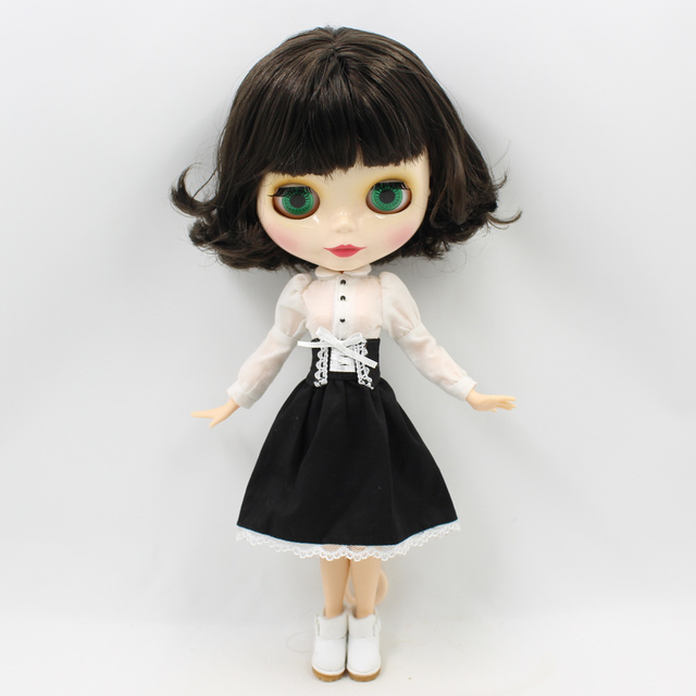 Blyth Doll White Skin 1/6 Black Short Hair Bobo Head Joint Body Suitable For DIY ICY BJD gift No.130BL950