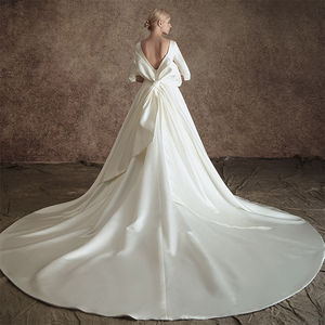Image 4 - New A line Satin Modest Wedding Dresses With 3/4 Sleeves O Neck V Back Vintage Modest Bridal Gowns Wth Detachable Train