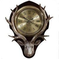 Bell living room Nordic retro decorated silent clock Big Deer Head Creative Fashion Wall Clock