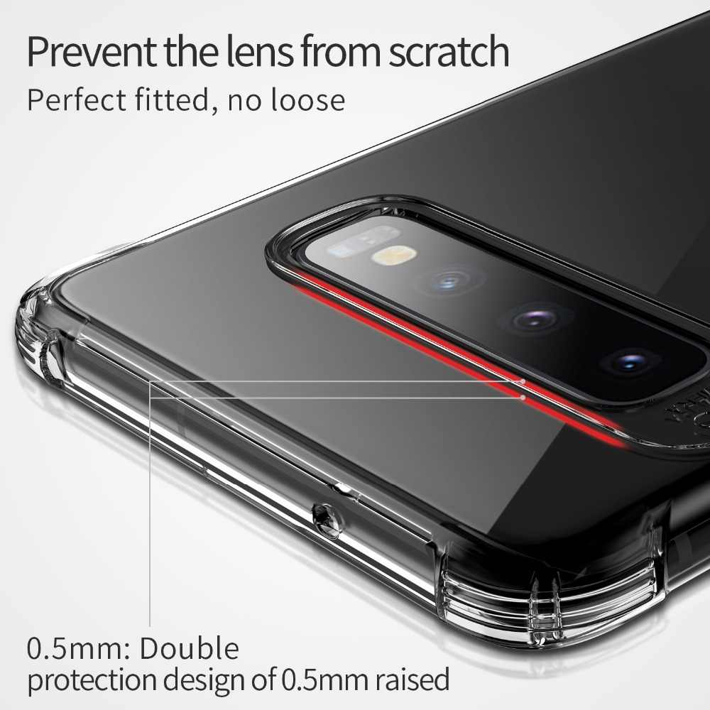 حافظة لهاتف سامسونج جالاكسي S10 بلس من السيليكون الشفاف msالسابع ، غطاء وسادة هوائية لهاتف سامسونج S9 S10 Plus S10E S10 E