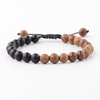 Elastic Natural Wood Beads Bracelet Bracelets Jewelry New Arrivals Women Jewelry Metal Color: ABK040-10