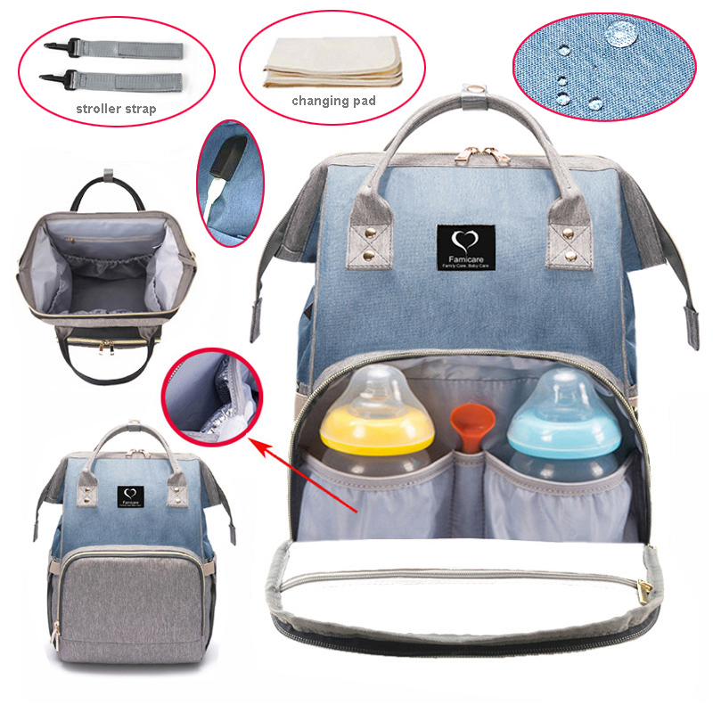 2019 Diaper Bag Backpack USB Baby Nappy Bag Waterproof Maternity Travel Nursing Bag Baby Care Stroller Handbag Patchwork Colors