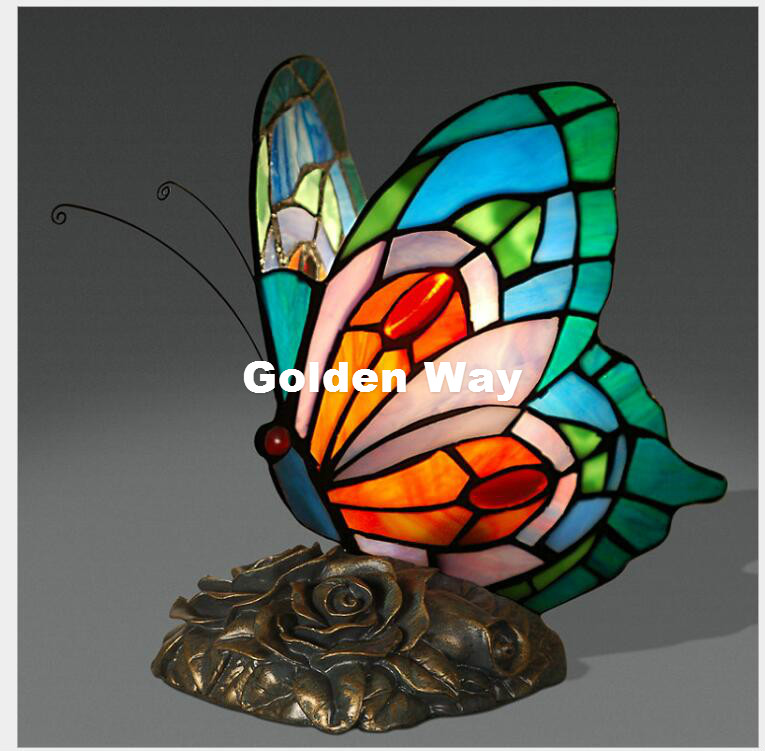 Free Shipping Butterfly Table Lamp European style Stained glass Decor Lamp Bedside Living Room Study Lights Bird Table Lamps