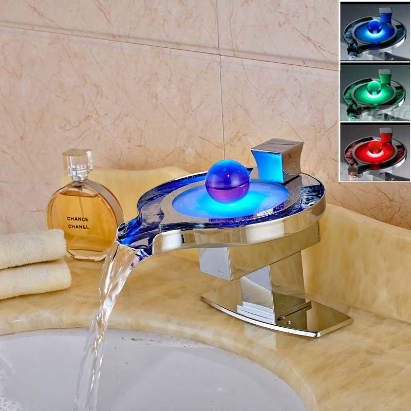 Chrome Bathroom Sink Faucet LED Spout Crane Deck Mounted Basin Mixer Tap With Cover Plate