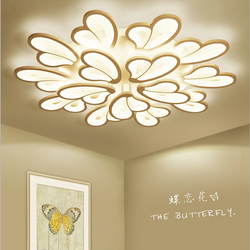 Remote control LED modern white chandelier for living room dining room bedroom study Surface mounted kroonluchterRemote control LED modern white chandelier for living room dining room bedroom study Surface mounted kroonluchter