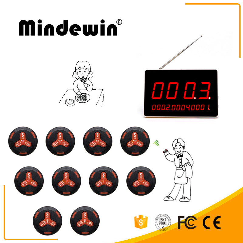 Mindewin Electronic Restaurant Table Number LED Display And 10PCS Black Call Button Wireless Call System Receiver Display restaurant kitchen call system k 999 302 with 1 pcs keypad and 1 pcs display showing 2 digit number