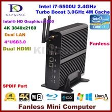 Мини-пк без вентилятора HTPC Intel 5-й генерал i7 CPU 16 ГБ оперативной памяти, 60 ГБ SSD 500 ГБ hdd, 4 К 3840 * 2160, 2 * гигабитный LAN + 2 * микро-hdmi + spdif, Windows 10