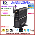 Fanless Mini PC HTPC Intel 5th general i7 CPU 16 GB ram, 60 GB SSD 500 GB hdd, 4 K 3840 * 2160, 2 * Gigabit LAN + 2 * HDMI + spdif, Windows 10