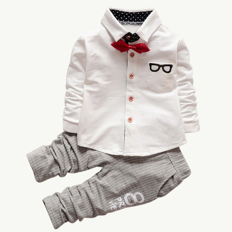 2017 Fashion Boys Clothes Baby Spring&Autumn Clothing Sets Kids Long Sleeve Sports Suits Bow Tie T-shirts + Pants B0326