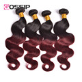 Gossip Hair Products Brazilian Body Wave Ombre Hair Extensions 4 Boundles #1b/#99j Brazilian Virgin Hair Ombre Human Hair Weave
