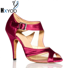 HXYOO Women Customizable Latin Salsa Dance Shoes Professional Girl Ballroom Mesh Satin Shoes Soft Sole Fuchsia